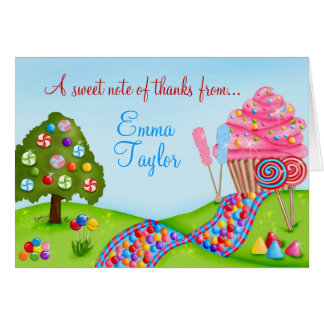 Oh Sweet Candy  Cupcake Land Thank You Note Cards
