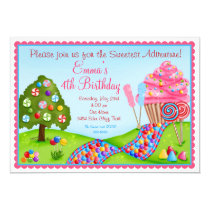 "Oh Sweet Candy Land Birthday Cupcake Invitations 5"" X 7"" Invitation Card"