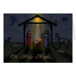 Oh tarjeta de Navidad santa de la natividad de la