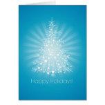 Oh tarjeta del azul del árbol de navidad