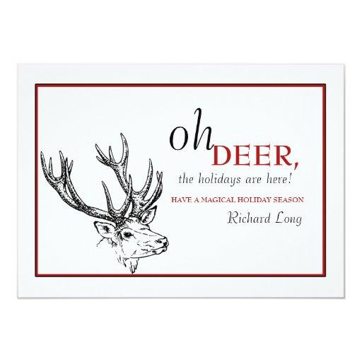 Oh tarjeta del día de fiesta de los ciervos anuncios personalizados
