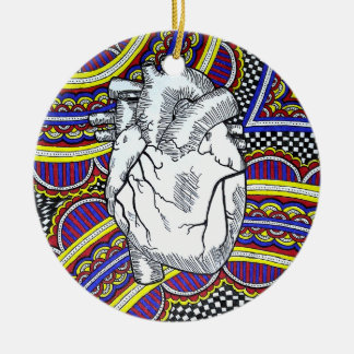 Oh the Heart Double-Sided Ceramic Round Christmas Ornament