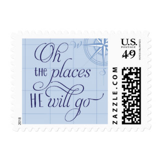 Oh the places he will go baby shower stamp