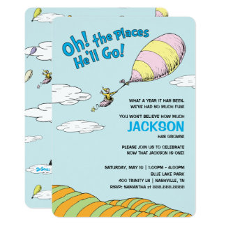 Oh! The Places He'll Go! - First Birthday Card