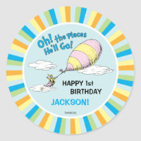 Oh! The Places He'll Go! - First Birthday Classic Round Sticker