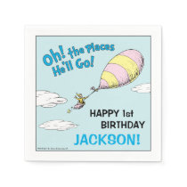 Oh! The Places He'll Go! - First Birthday Paper Napkin