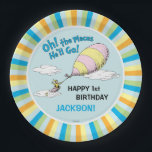 "Oh! The Places He&#39;ll Go! - First Birthday Paper Plate<br><div class=""desc"">Celebrate your baby boy&#39;s first birthday with these super cute customizable &quot;Oh,  the Places He&#39;ll Go&quot; paper plates. Personalize with your son&#39;s name and age.</div>"