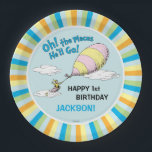 """Oh! The Places He&#39;ll Go! - First Birthday Paper Plate<br><div class=""""desc"""">Celebrate your baby boy&#39;s first birthday with these super cute customizable &quot;Oh,  the Places He&#39;ll Go&quot; paper plates. Personalize with your son&#39;s name and age.</div>"""
