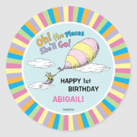 Oh! The Places She'll Go! - First Birthday Classic Round Sticker