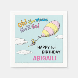 Oh! The Places She'll Go! - First Birthday Napkin
