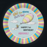 "Oh! The Places She&#39;ll Go! - First Birthday Paper Plate<br><div class=""desc"">Celebrate your baby girl&#39;s first birthday with these super cute customizable &quot;Oh,  the Places He&#39;ll Go&quot; paper plates. Personalize with your daughter&#39;s name and age.</div>"
