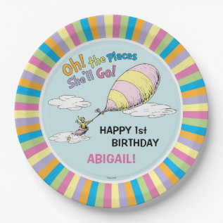 Oh! The Places She'll Go! - First Birthday Paper Plate at Zazzle