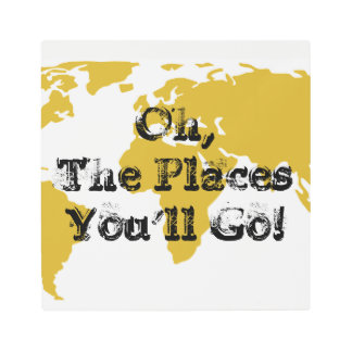 Oh the Places You'll Go! - Gold World Map Art
