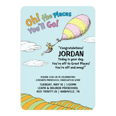 graphic regarding Oh the Places You'll Go Balloon Printable Template called Dr. Seuss Oh! The Areas Youll Shift! Card
