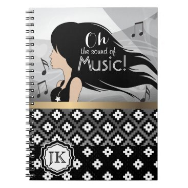 Aztec Themed Oh The Sound Of Music Girl Notebook