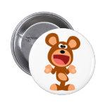 """Oh well..."" Shrugging Cartoon Bear Button Badge"
