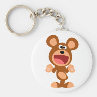 """Oh well..."" Shrugging Cartoon Bear Keychain"