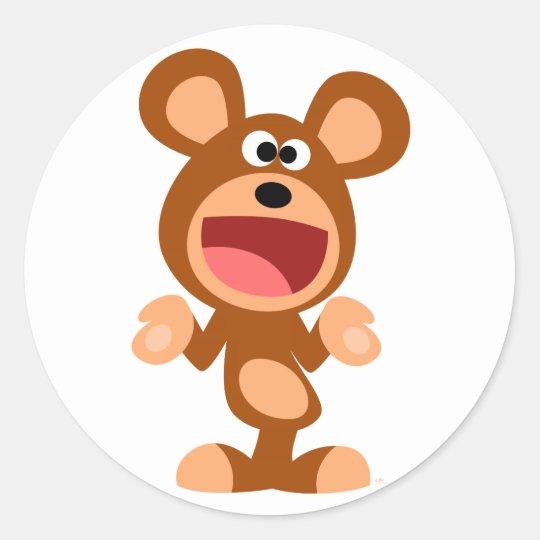 """Oh well..."" Shrugging Cartoon Bear Sticker"