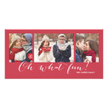 Oh What Fun! 3-Photo Red Holiday Card