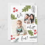 """Oh What Fun Berry Snapshot Multi-Photo Holiday Card<br><div class=""""desc"""">This 2-photo collage holiday card is bright,  colorful and festive,  featuring iconic holiday botanicals but with a modern look and feel.</div>"""