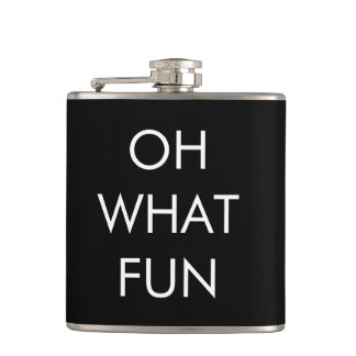 Oh What Fun Black Christmas Flask