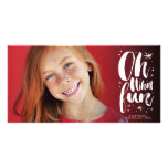 Oh What Fun Brushed Stars Christmas Photo Card