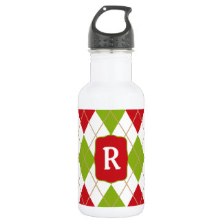 Oh What Fun! Christmas argyle monogram waterbottle Water Bottle