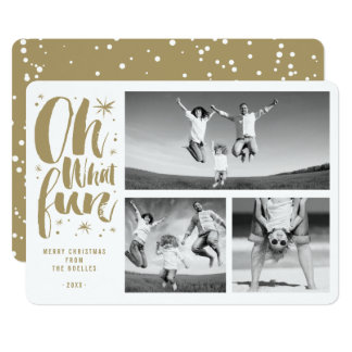 Oh What Fun Christmas Holiday Photo Collage Card