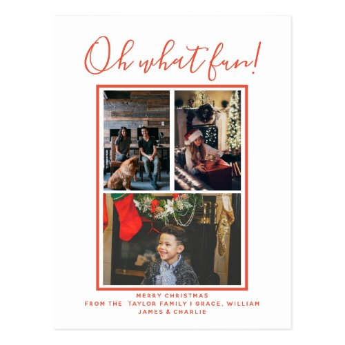 Oh What Fun Christmas Holiday Photo Personalized Postcard