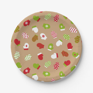 Oh What Fun! Christmas mittens paper plates