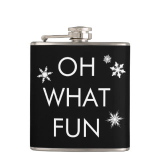 Oh What Fun Christmas Snowflake Flask -black/white