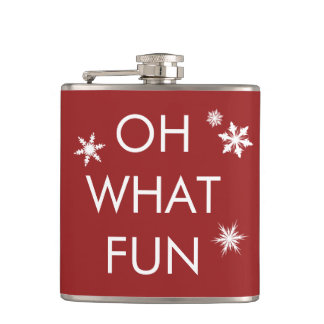 Oh What Fun Christmas Snowflake Flask - Red