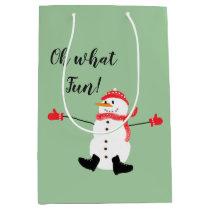 Oh what Fun Christmas Snowman Sage Green Medium Gift Bag