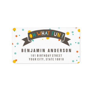 Oh What Fun Colorful Confetti Boy Birthday Labels