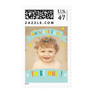 Oh What Fun Confetti 1st Birthday Party Photo Postage