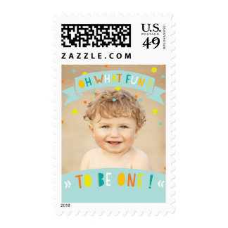 Oh What Fun Confetti 1st Birthday Party Photo Stamp