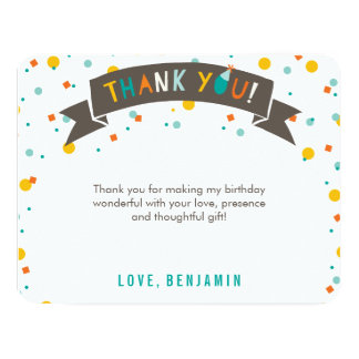 Oh What Fun Confetti 1st Birthday Thank You Card