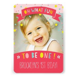 Oh What Fun Confetti First Birthday Party Invite Custom Announcement