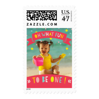 Oh What Fun Confetti Girl 1st Birthday Party Photo Postage
