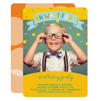 Oh What Fun Confetti Kids Birthday Party Invite