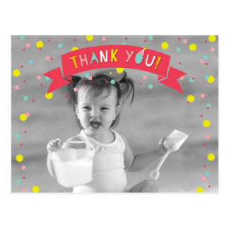 Oh What Fun Confetti Photo Girl Birthday Thank You Postcard