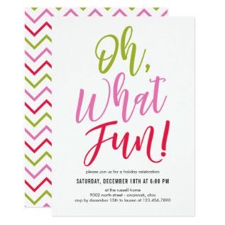 Oh What Fun Editable Color Party Invitation at Zazzle