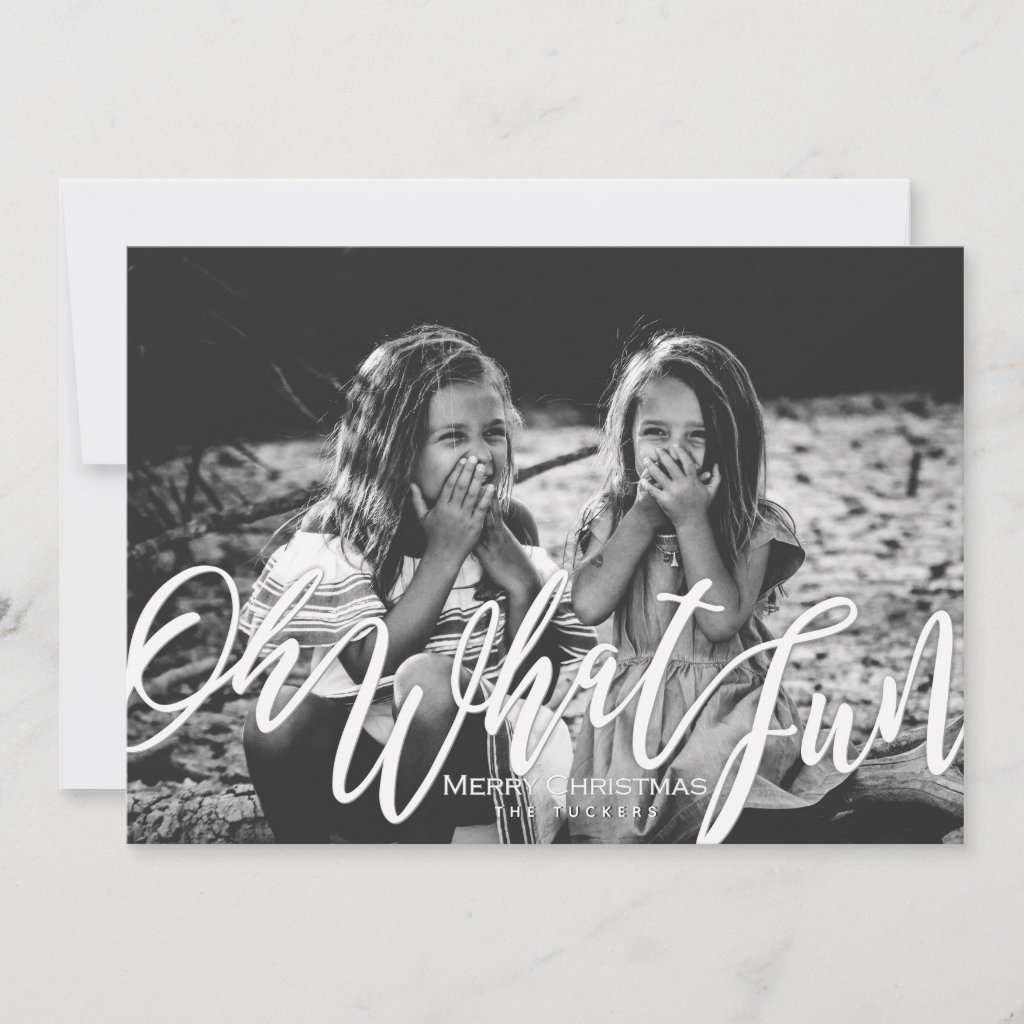 Oh What Fun Full Photo Christmas Handwritten Holiday Card