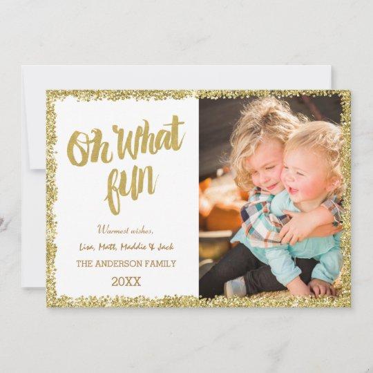 oh what fun glitter christmas card