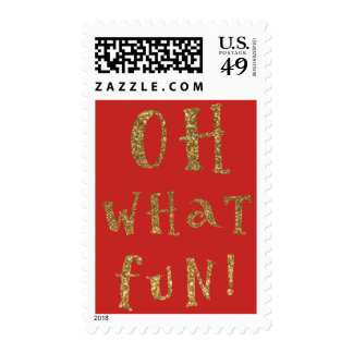 Oh What Fun, Gold Faux Glitter Typography Postage
