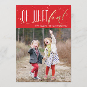 oh what fun holiday faux foil christmas card
