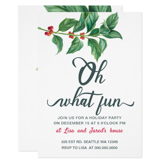 Oh What Fun Holiday Party Invitations