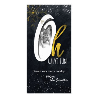 Oh What Fun! Holiday Photo Card Gold Foil Snow