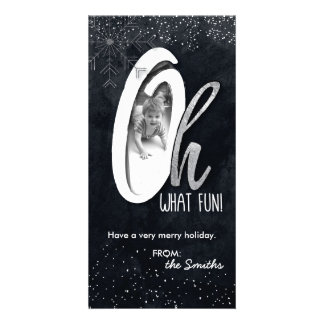 Oh What Fun! Holiday Photo Card Silver Foil Snow