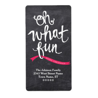 Oh What Fun Holiday Ribbon Personalized Label